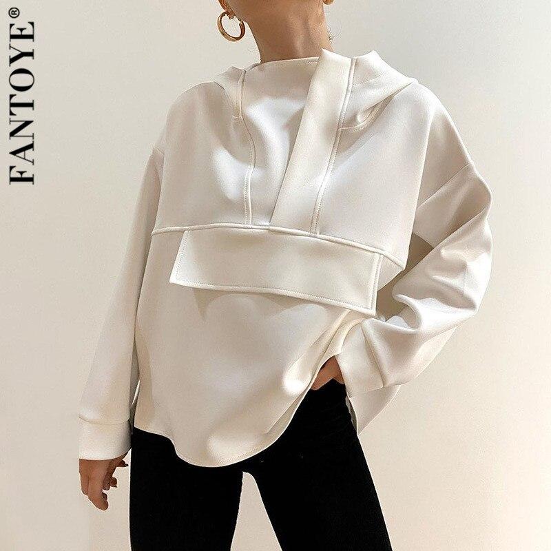 Fantoye Casual Hoodied Harajuku Sweatshirt Für Frauen Mode Lose Feste Übergroße Jacke Jumper Schwarz Undefined Undefined Pullover 2020