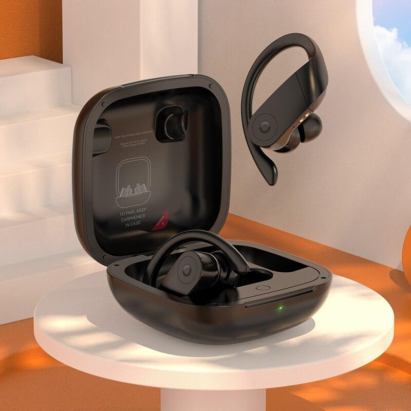 Auriculares HOCO TWS inalámbricos Bluetooth 5,0 con cancelación de ruido, Auriculares deportivos con gancho, auriculares Waterprof 400mAh, caja de carga