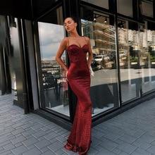 Sexy bronzant sirène robe de soirée Bling Spaghetti bretelles dos ouvert robe de soirée femmes longues robes robe formelle robes de bal