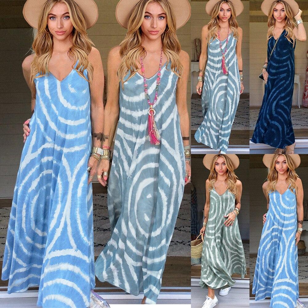Brand women's 2021 new abstract suspender skirt Bohemian long skirt summer V-neck drawstring sleeveless dress