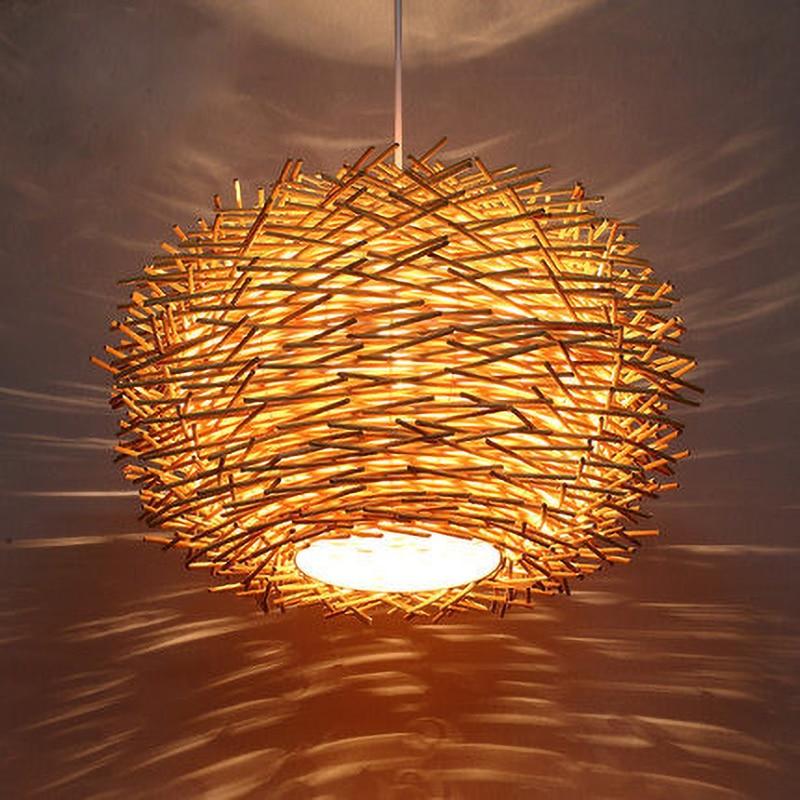 مصباح معلق مصنوع يدويًا من خشب الخوص ، تصميم إسكندنافي حديث ، مثالي لغرفة الطعام أو المقهى أو الفندق أو المطعم.