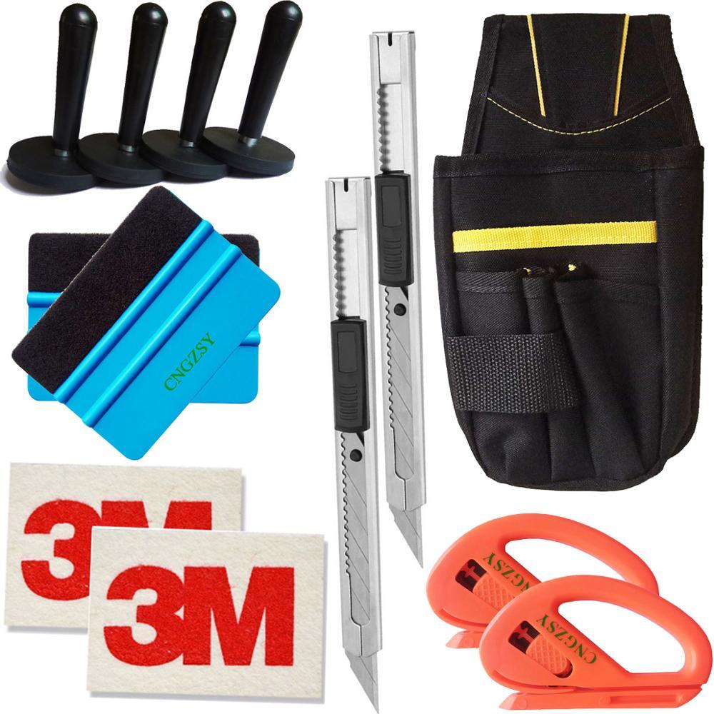 Soporte magnético 3M arte de lana utensilios con cuchillas cortador de bolsa burbuja ventana envoltura película rasqueta pegatinas de diseño de complemento para el coche K22