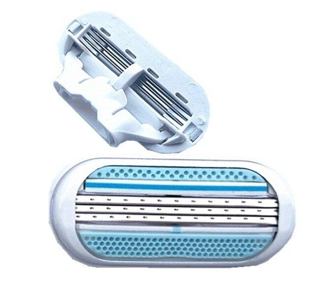 ¡Oferta! Cuchillas de afeitar 4 Uds para mujer, afilador femenino de seguridad, para afeitar maquinilla de afeitar, cuchilla de 3 capas