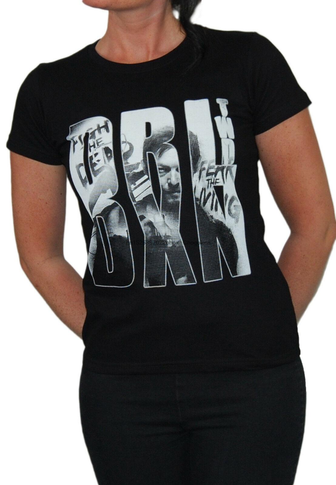 Daryl dixon girlie the walking dead horror zombie daryl dixon série rick crimes t camisa