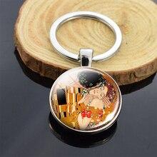 Gustav Klimt le baiser porte-clés Art photo acier inoxydable Double face porte-clés peinture bijoux porte-clés boucle de clé