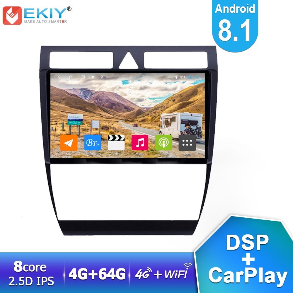 Ekiy dsp ips player multimídia automotivo, android 8.1, 4 gb + 64 gb, para audi a6 s6 rs6 2010-2019 2004 carro rádio estéreo gps navi wifi usb carplay