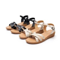 2021 summer new foreign trade womens shoes large size middle aged cow leather flat bottom leather womens sandals