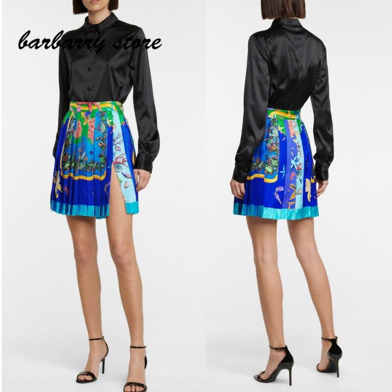 luxury brand printed women's fashion skirt temperament pleated skirt high waist side split A-line skirt versatile casual skirt