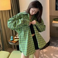 qweek plaid shirt women green top checkered shirt woman vintage cardigan button up blouses ladies cotton kpop korean style bf