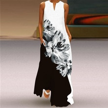 MOVOKAKA 2021 Black White Dress Vintage Summer Beach Casual Plus Size Long Dresses Summer Woman Slee