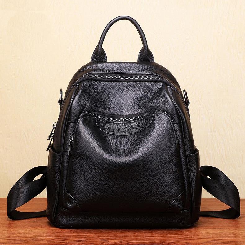 Genuine Genuine Leather Backpack Ladies All-match Full Genuine Leather  Women 2021 New Pure Genuine Leather Handbags black недорого