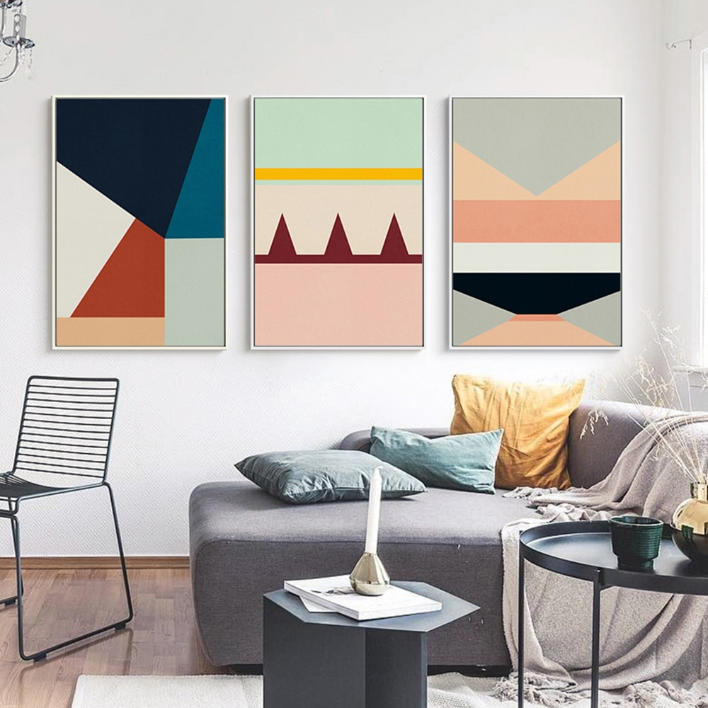 Pinturas nórdicas de lona geométricas modernas para pared, Cuadros Decorativos para sala...