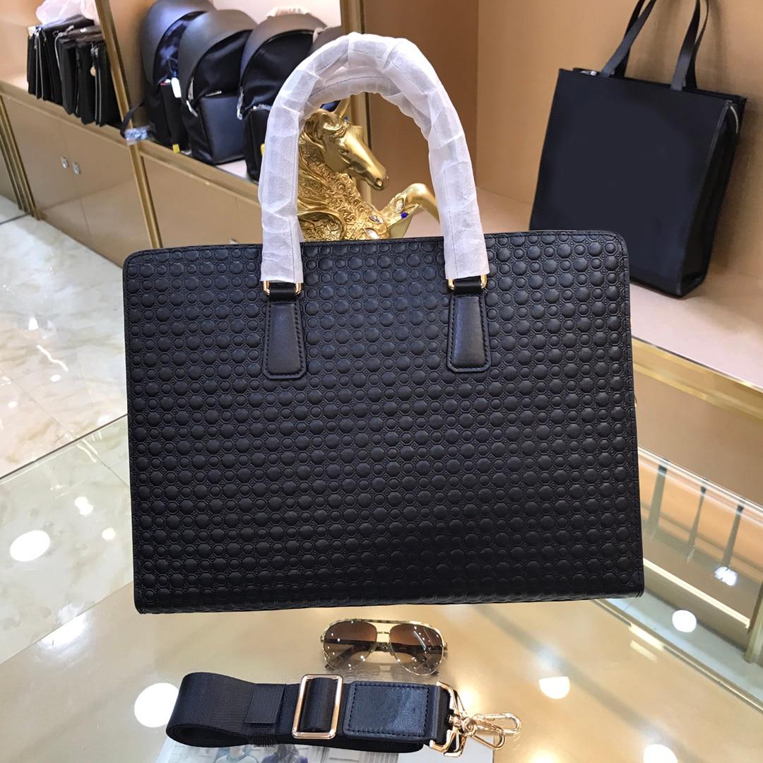 Brand-name business briefcases leather high-quality men's handbags laptop A4 men's handbags classic shoulder bags