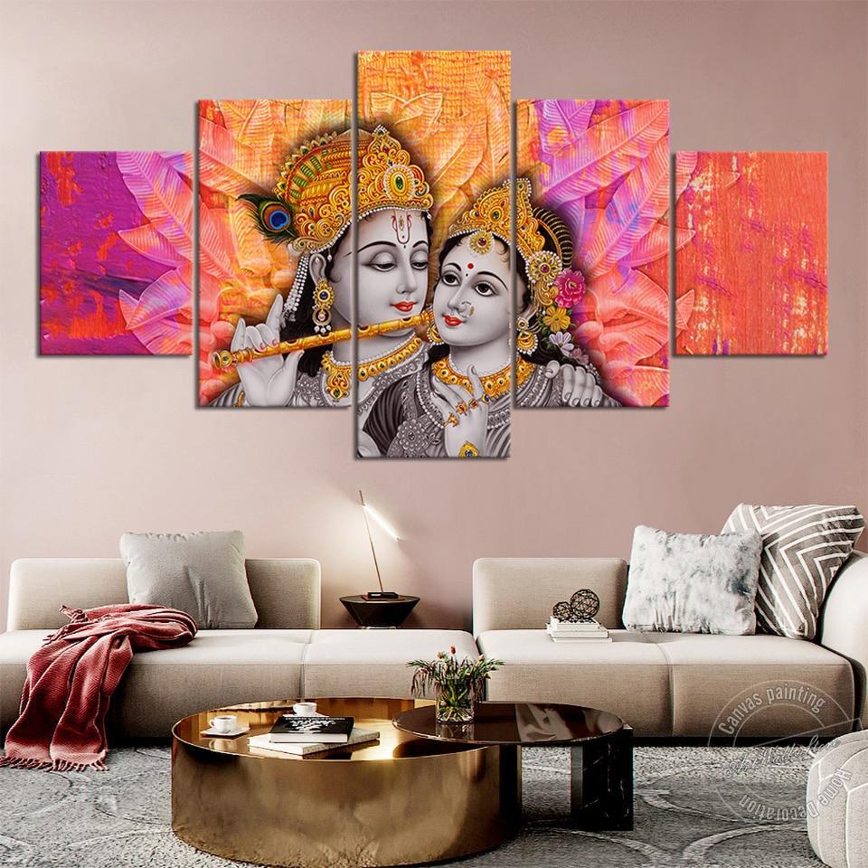 Sin marco Krishna Radha lienzo pintura el hinduismo Dios pared para decoración para sala de estar amor Dios religión pintura arte de pared