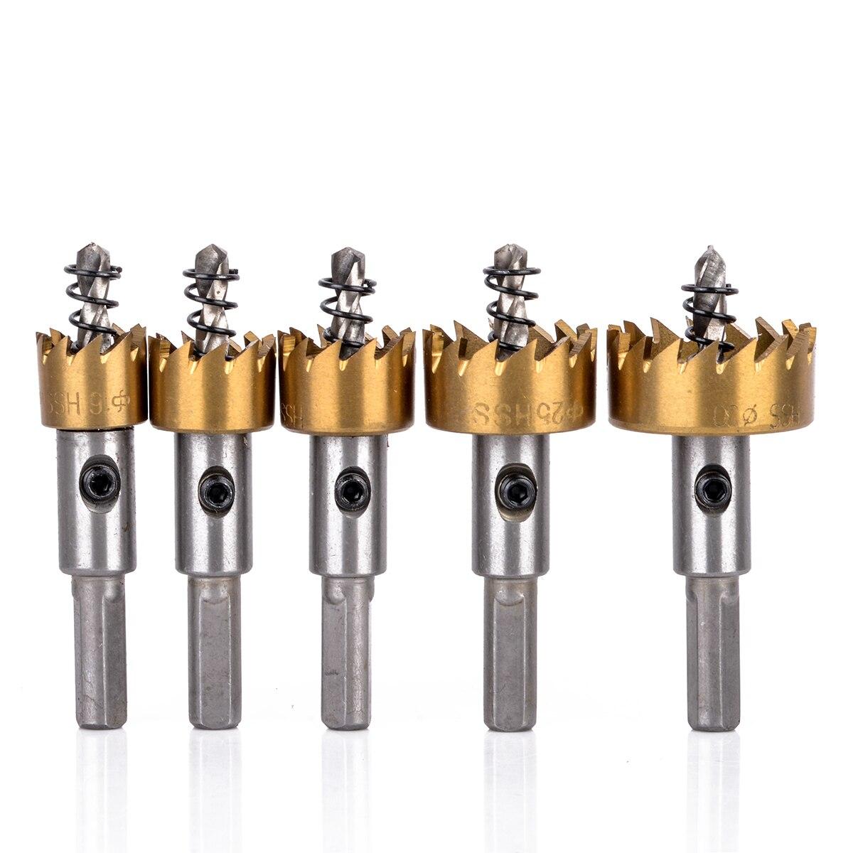 5Pcs HSS Drill Bit Hole Saw Set Stainless Steel Metal Alloy Cutter Power Tool 16/18.5//20/25/30mm