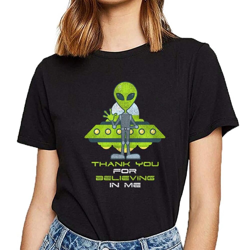 T camisa las mujeres alienígena OVNI Área 51 platillo Área 51 creer en mí Hip Hop algodón Vintage mujer camiseta