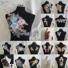 Collier en dentelle broderie paillettes femme   Bonne qualité, bricolage, encolure en dentelle, fleur tridimensionnelle, décoration pour robe, accessoires autocollants