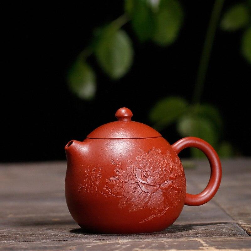 Dahongpao-إبريق شاي مصنوع يدويًا ، منحوتة الفاوانيا المطلية ، غلاية yixing ، أدوات الشرب