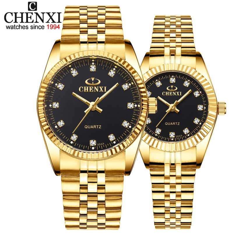 CHENXI Luxury Couple Watch Golden Fashion Stainless Steel Lovers Watch Quartz Wrist Watches For Women & Men Analog Wristwatch
