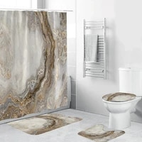 Ensemble de rideaux de douche en marbre blanc  avec tapis antiderapant  tapis de bain  rideau de salle de bain moderne  couvercle de toilette  decoration de la maison