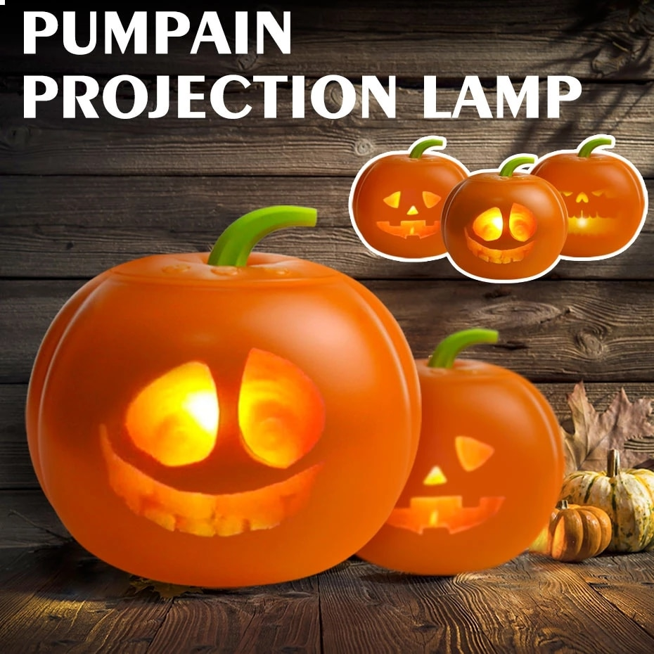 Halloween LED Pumpkin Projection Lamp USB Charging Sound-Activated With Built-in Speaker LED Light Projector Festival Bar Party
