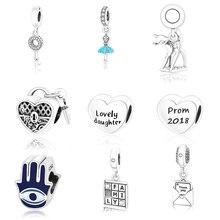 Fit Original Pandora Charm Bracelets Silver 925 Animal Giraffe Key Pendant Palm Eye Love Beads Charms Jewelry DIY Berloque Gifts