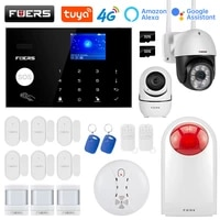 FUERS     systeme dalarme de securite domestique intelligent  wi-fi  4G  Tuya  sans fil  controle de camera  sirene  detecteur de mouvement  detecteur de fumee PIR