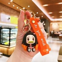 ghost blade animation keychains cartoon doll key chain kamado tanjirou pompom yaiba keyring pendant accessories
