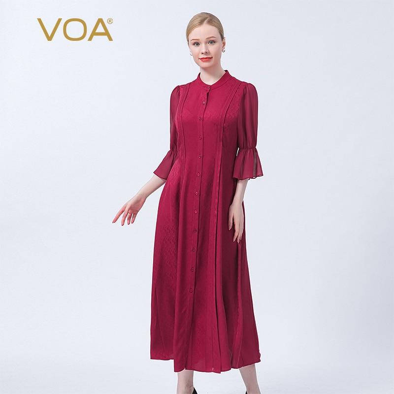 VOA الحرير الجاكار الغروب الأحمر الوقوف طوق صف واحد مشبك القرن كم الزفاف هدية للذكرى السنوية أنيقة قميص فستان AE1017