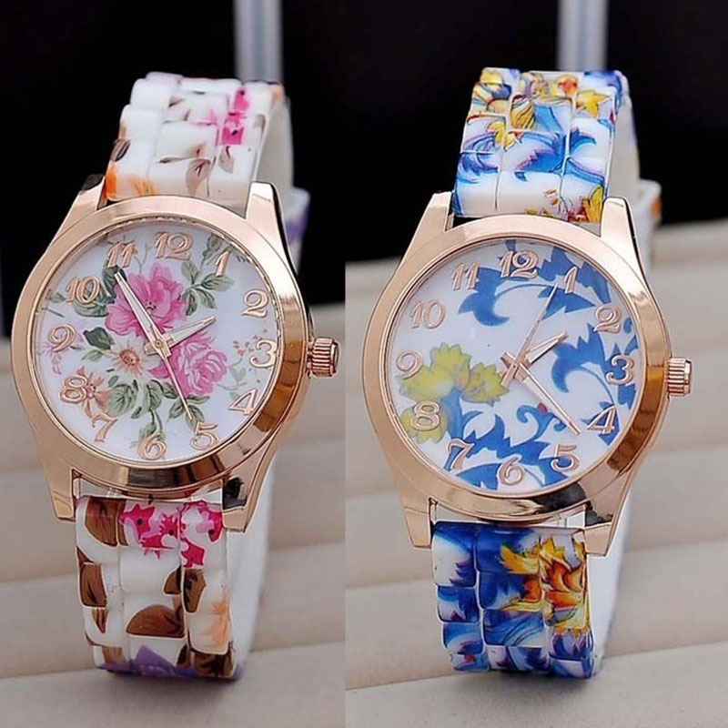 New Silicon Strap Watch Beautiful Flower Porcelain Design Wristwatch Women Students Girls New Arriva