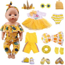 Doll Clothes Yellow Series Swimsuit Fit 18 Inch American And 43 Cm New Born Baby Doll Accessories, R