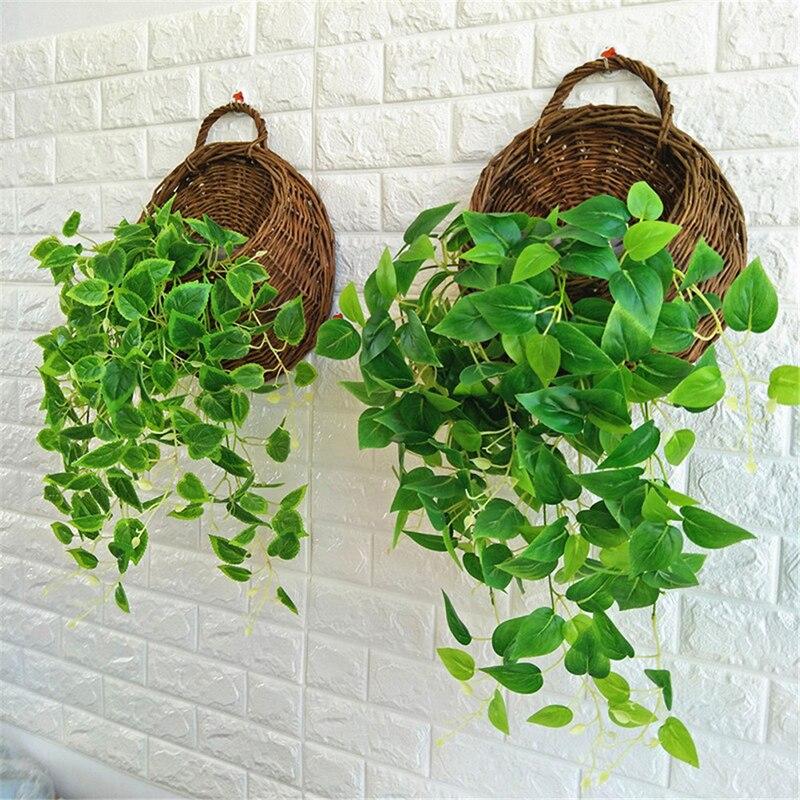 1pc flor plantador parede pendurado vime rattam cesta jardim videira pote plantas de interior titular 4 cores