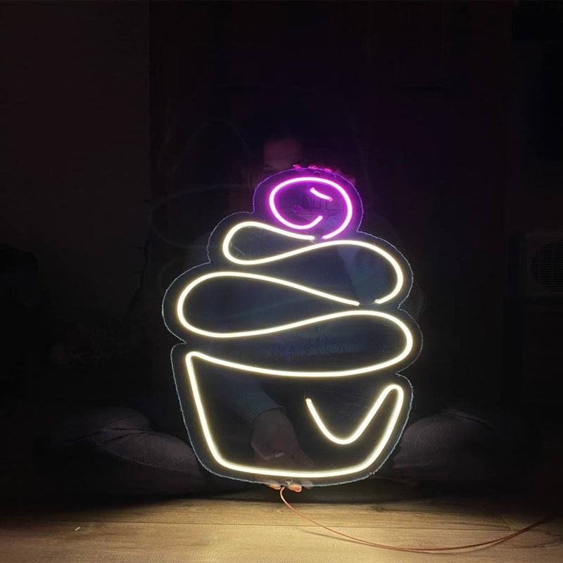 OHANEONK Ice Cream LED Neon Sign Light Christmas Tree Neon Bulbs For Home Party Bedroom Beer Bar Christmas Party Decoration enlarge
