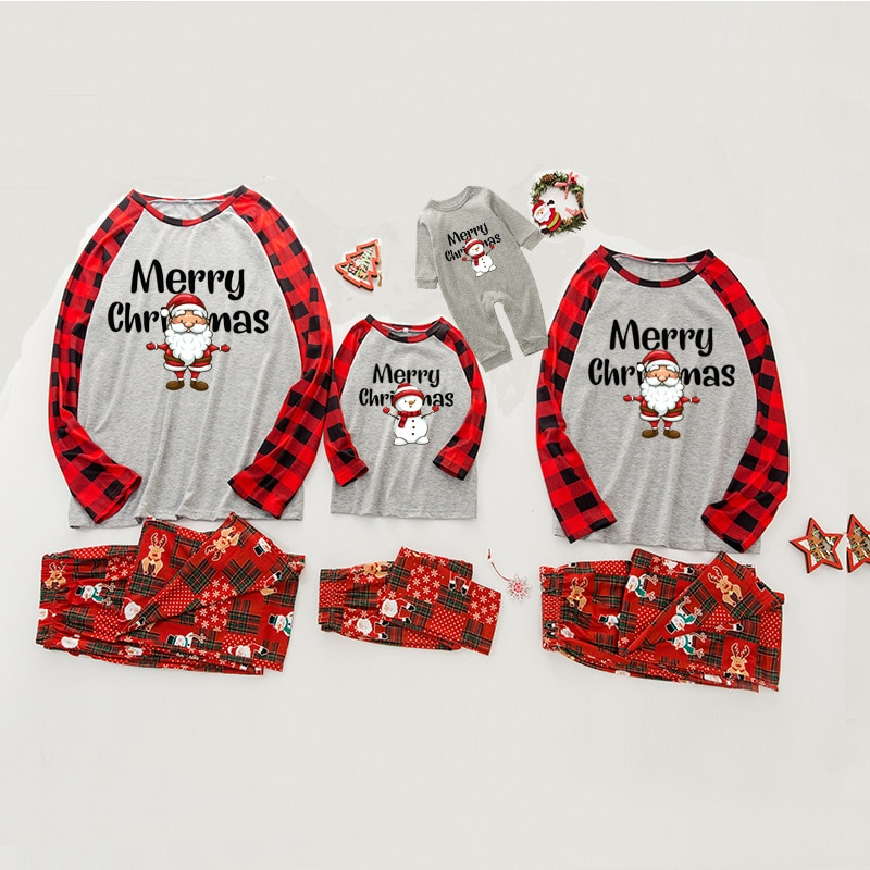 Christmas Family Pajamas Mom and Daughter Full Sleeve Snowman Sleepwear Children's Sets Baby Romper