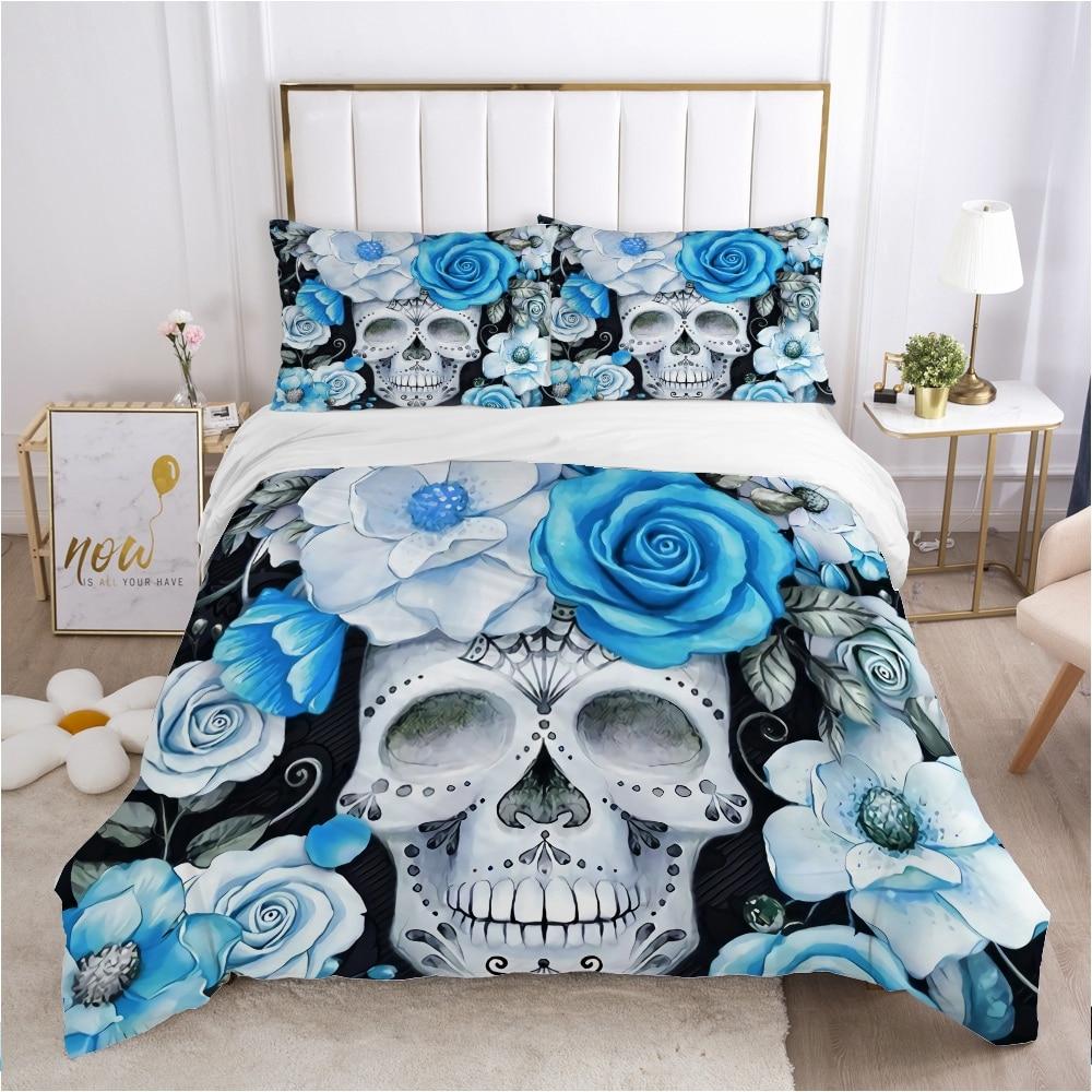 الجمجمة ديدبول حاف مجموعة غطاء 240x220 200x200 طقم سرير التوأم الملكة الملك مزدوجة بياضات سرير غطاء لحاف المفارش أزرق فاتح