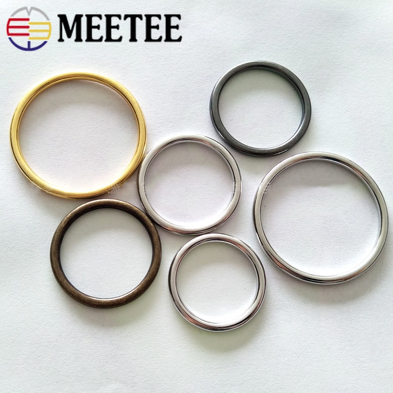 Meetee 5pcs O Ring Metal Round Circle 20-50mm for Clothing Handbag Decoration Button Hardware Leather Crafts Accessories BF264