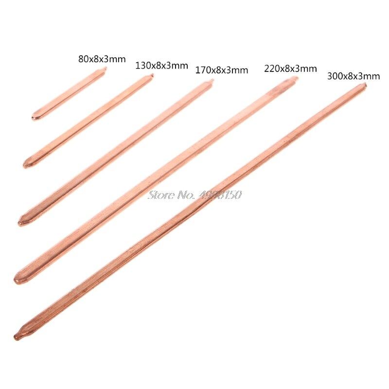 Tubo de cobre puro de 150mm/200mm/250mm/300mm para ordenador, portátil, de refrigeración, portátil, tubo de calor plano o redondo