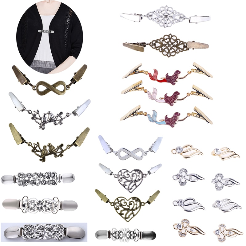 Cardigan Clip Sweater Shawl Clips Keeper Collar Duck-mouth  Metal Clip Holder Garters Accessories Jewelry Gift DIY