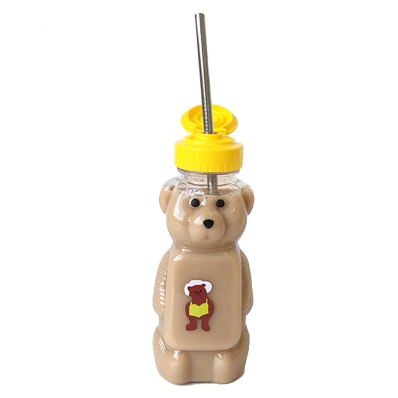 AliExpress - Lovely Cartoon Bear Straw Cup Water Bottle with Lid Leakproof Home Travel Couple