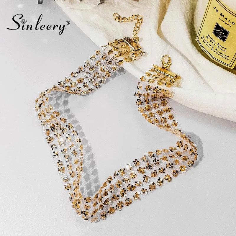 SINLEERY Sexy brillante malla de encaje con lentejuelas Collar Choker ancho Collar mujer chica boda accesorios de joyería 2 colores Xl023 SSK