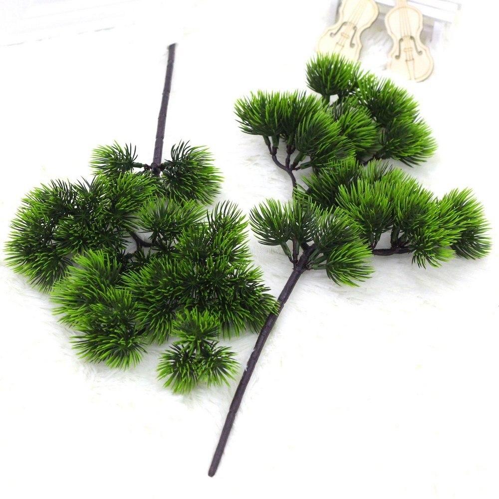Rama de pino Artificial simulación planta verde aguja de pino Artificial para el hogar sala de estar gabinete balcón decoración de jardín