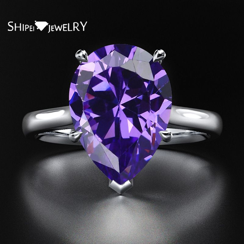 Shipei 100% Plata de Ley 925 anillo de corte de pera joyería fina creado Moissanite citrino rubí Esmeralda Topacio anillo de compromiso de boda
