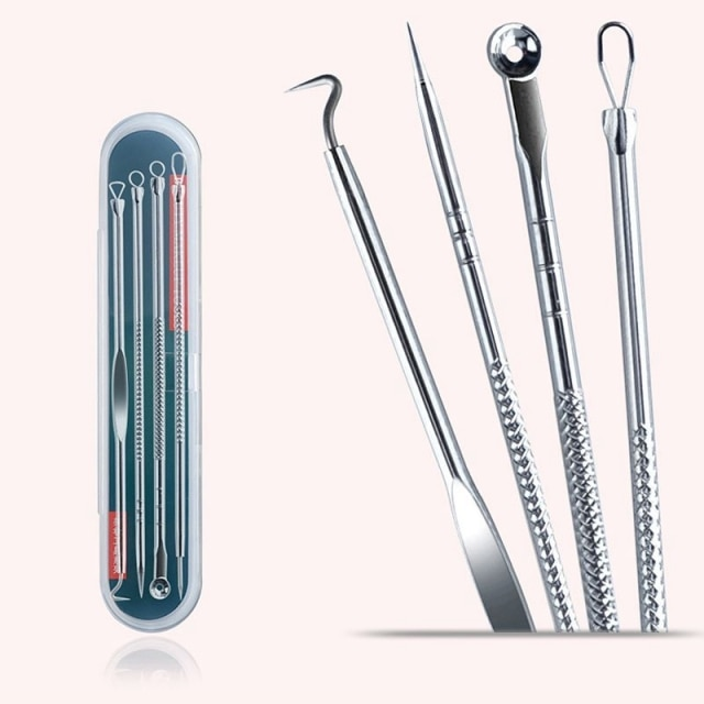 4pcs Stainless Steel Acne Removal Needles Pimple Blackhead Remover Tools Spoon Face Skin Care Tools Needles Facial Pore Cleaner