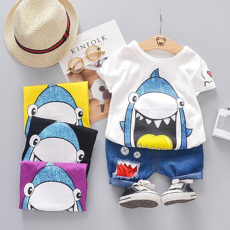 Summer Children Boys Clothing Shorts Denim Cartoon Shark Sport Suit Baby Kids Short Sleeve T Shirt New Casual Jeans Clothes Set