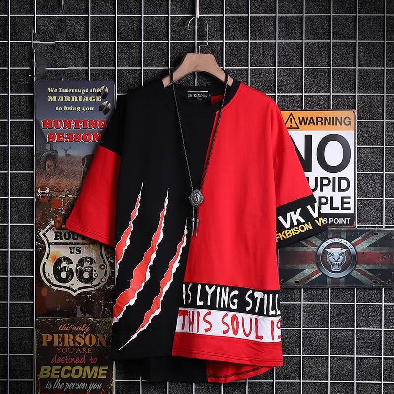 Camiseta roja, ropa de calle para hombre, camisetas casuales de Hip Hop, camiseta de verano de media manga, camisetas de moda de calle alta, geniales camisetas de retales para hombre