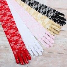 Günstige Weiß Spitze Braut Handschuhe Rot Weiß Baumwolle Finger Lange Handschuhe Für Hochzeit Frauen Party Zubehör Brautjungfer Rosa Handschuhe