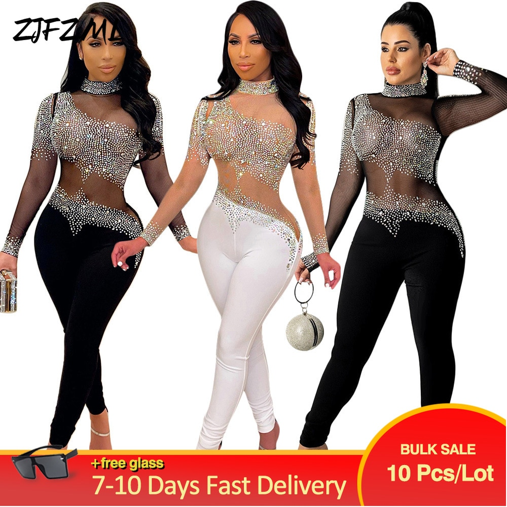 Bulk Lots Wholesale Items Women Party Clubwear Skinny Jumpsuit Mesh Glitter Rhinestones Romper Trendy Midnight Fitness Outfit