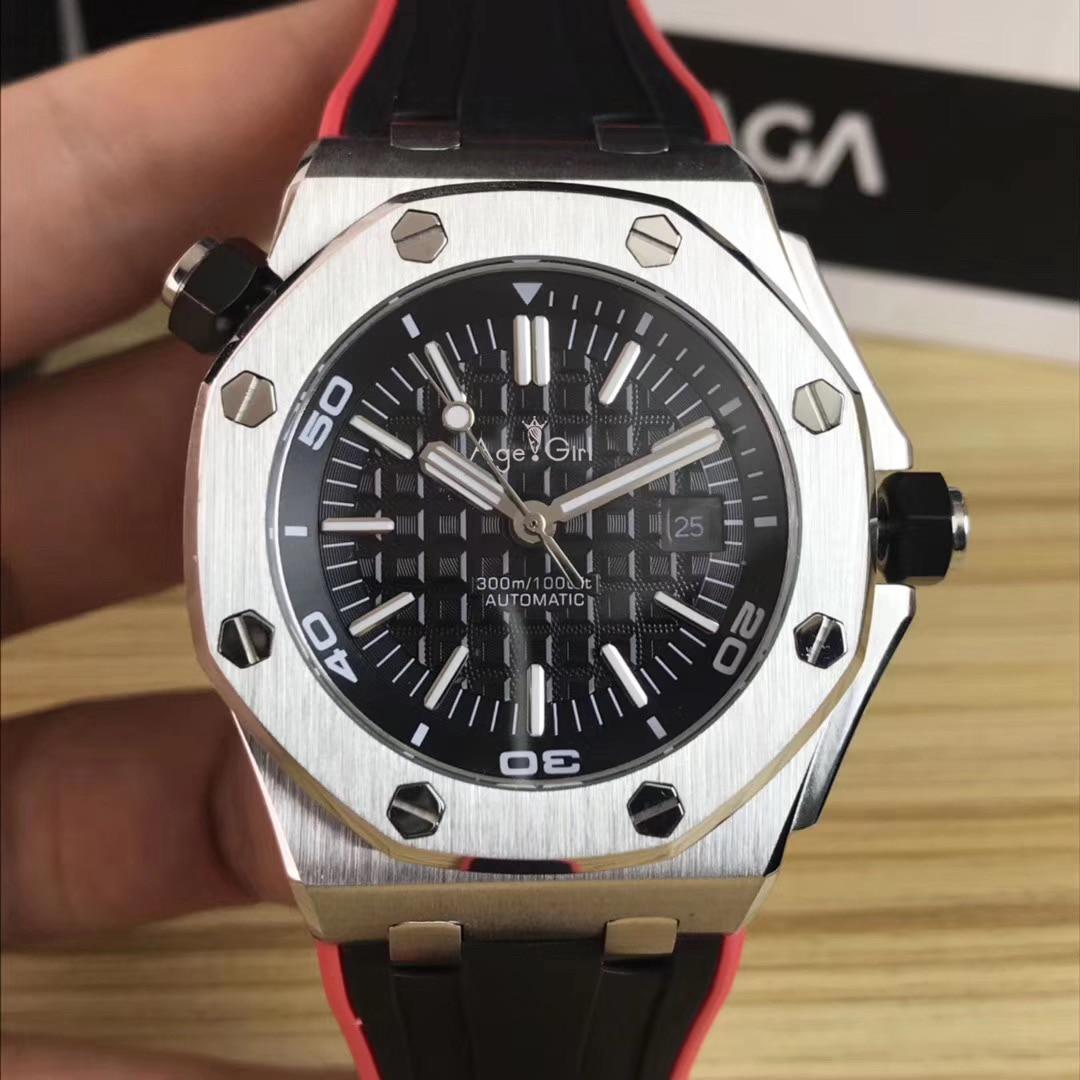 Luxo novos homens automático mecânico prata laranja preto cinza vermelho de borracha aço inoxidável safira vidro relógio esportivo aaa +