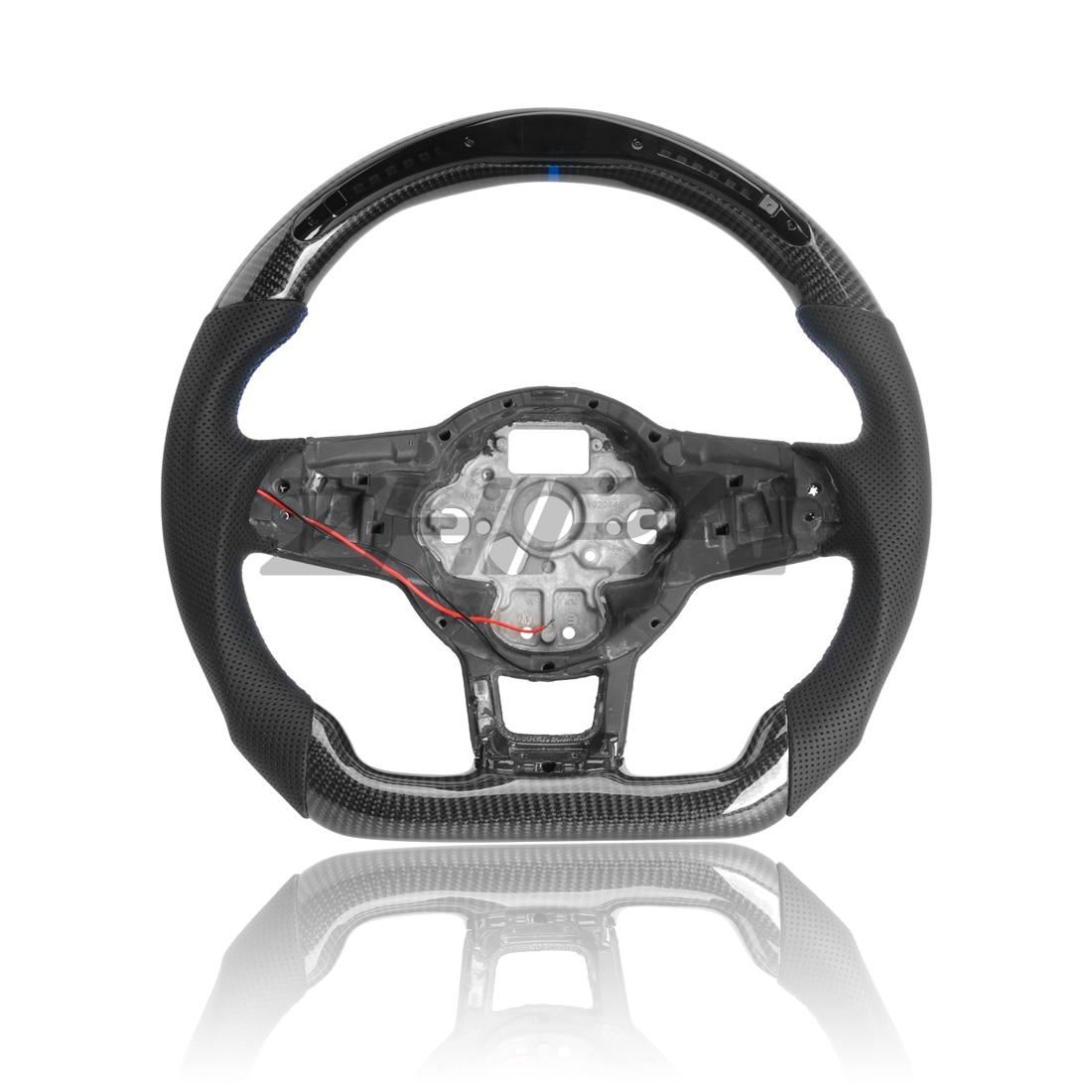 ألياف الكربون عجلة القيادة ل MK7.5 GTI R ل Volkswagen Golf MK7 محاطة جلد مثقب مع LED عجلة القيادة