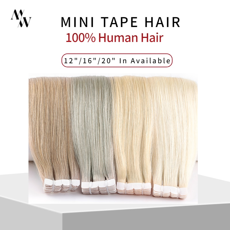 MW Mini Tape In Human Hair Extensions Natural Straight Hair Machine Remy Invisible Skin Weft Adhesive Glue On Hair 12\